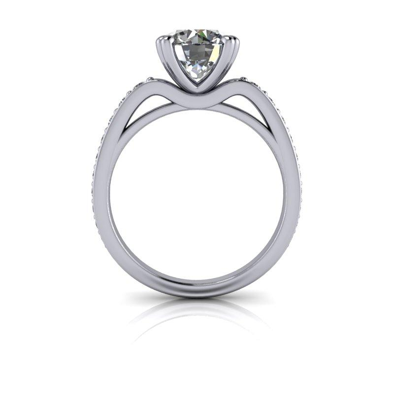 Round Hearts & Arrows Forever One Moissanite Engagement Ring/Bridal Set 2.74 ctw-Bel Viaggio Designs