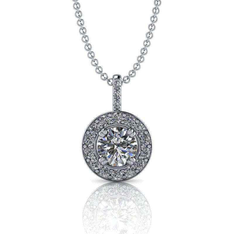 Round Moissanite Necklace, Halo Drop Necklace 14 kt gold 1.40 ctw-Bel Viaggio Designs