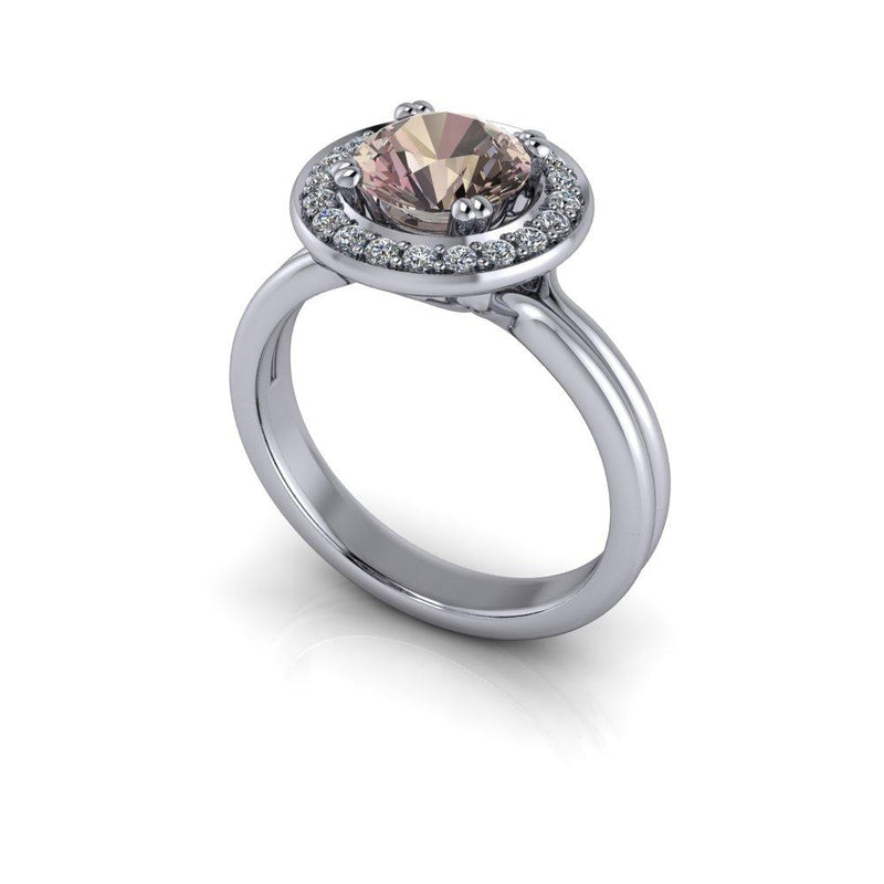 Round Morganite Engagement Ring Diamond Halo Engagement Ring 1.37 CTW-Bel Viaggio Designs