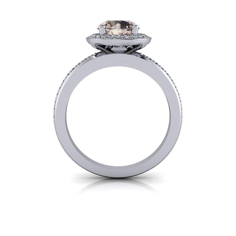 Round Morganite Engagement Ring Diamond Halo Engagement Ring 1.43 CTW-Bel Viaggio Designs