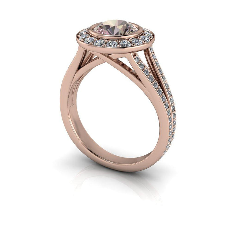 Round Morganite Engagement Ring Diamond Halo Engagement Ring 1.75 CTW-Bel Viaggio Designs