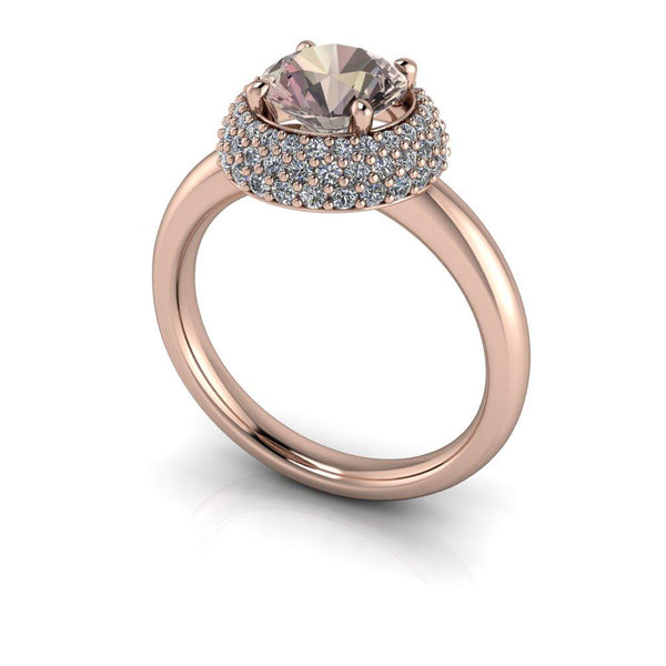 Round Morganite Engagement Ring Pave Diamond Halo Engagement Ring 1.68 CTW-Bel Viaggio Designs