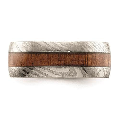 Damascus Steel Polished With Wood Inlay 8mm Band-Bel Viaggio Designs