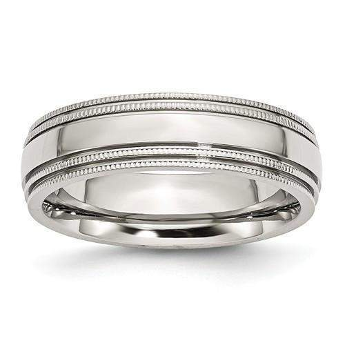 Stainless Steel Men's Wedding Band Grooved And Beaded 6mm-Bel Viaggio Designs