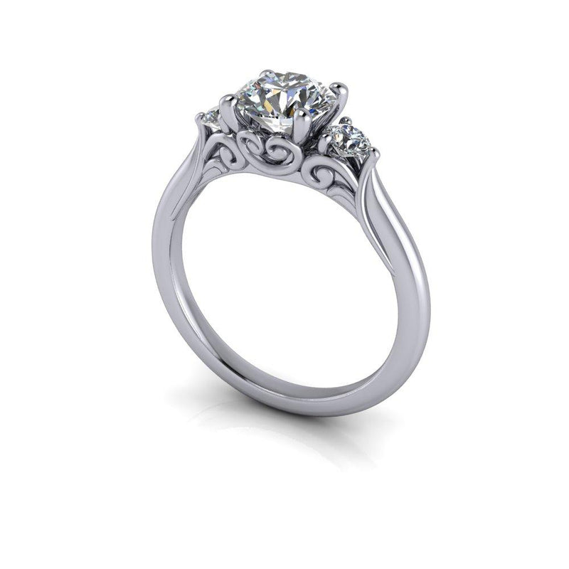 Three Stone Moissanite Engagement Ring 1.20 ctw-Bel Viaggio Designs