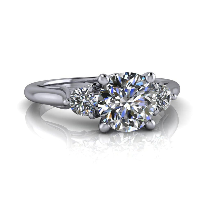 Three Stone Moissanite Engagement Ring Bridal Set 1.40 ctw-Bel Viaggio Designs