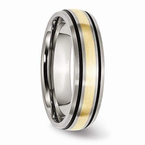 Titanium Band, Grooved 14k Yellow Inlay 6mm-Bel Viaggio Designs