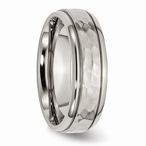 Titanium Men's Wedding Band 7mm Grooved Edge Hammered And Polished Band-Bel Viaggio Designs