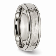 Titanium Men's Wedding Band 7mm Grooved Edge Hammered And Polished Band-BVD