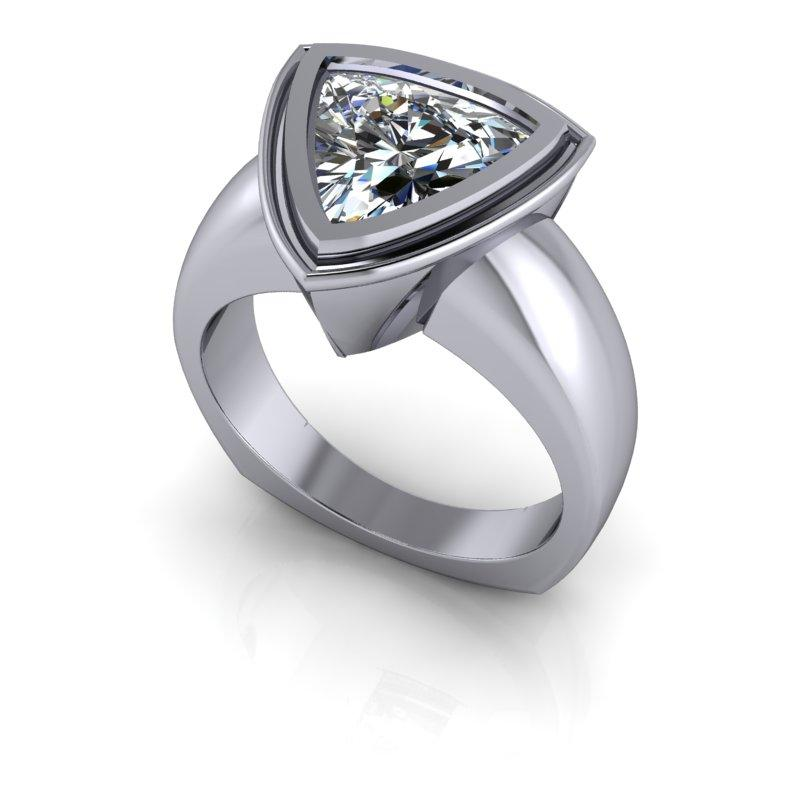 Trillion Moissanite Ring, Bezel Set Euro Shank 2.40 ctw-Bel Viaggio Designs