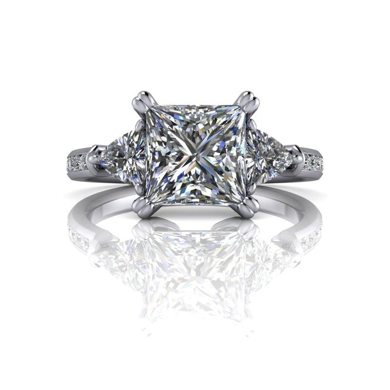 Trillion & Princess Cut Moissanite Engagement Ring 2.26 ctw-Bel Viaggio Designs
