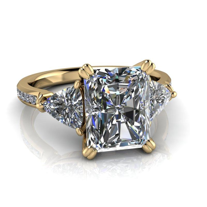 Trillion & Radiant Cut Forever One Moissanite Engagement Ring 3.93 ctw-Bel Viaggio Designs