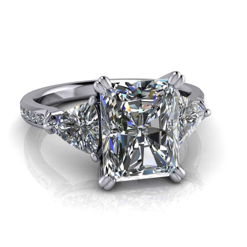 Trillion & Radiant Cut Forever One Moissanite Engagement Ring/Bridal Set 4.23 ctw-Bel Viaggio Designs