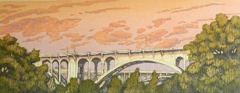 """Arroyo Seco Dusk""  Woodblock"