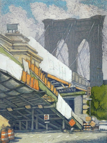 """Brooklyn Bridge a la Cristo"" Woodblock"