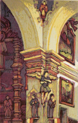 """San Xavier Interior"" Woodblock"