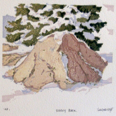 """Snowy Rock"" Woodblock"