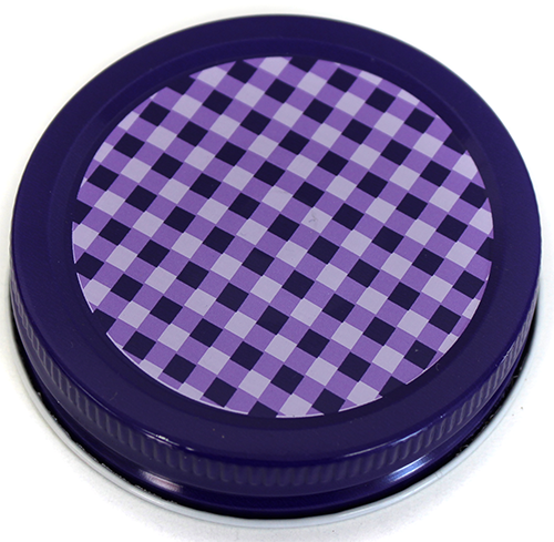 Orchard Road Purple Gingham Decorative Canning Cap - Regular Mouth