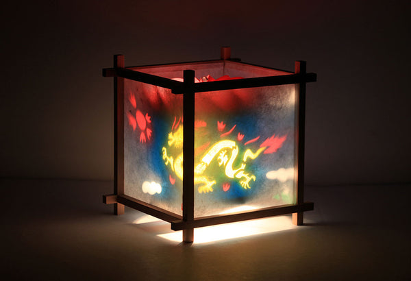 Dragon & Phoenix Rotating Kids Bedside Table Lamp by Magic Lamp