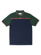 Orsman Colour Blocked Polo Shirt Navy & Green