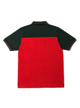 Orsman Colour Blocked Polo Shirt Green & Red