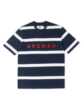Orsman Striped Yarn Dye T-Shirt Navy