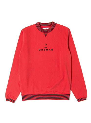 Orsman Stern Striped Rib Crewneck Sweatshirt  Red