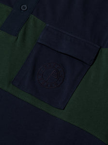 Orsman Striped Rugby Shirt Navy & Green