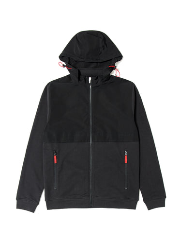 Orsman Tech Nylon Hooded Jacket Black