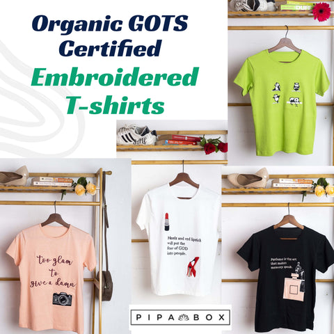 Organic GOTS Certified Embroidered T-shirts