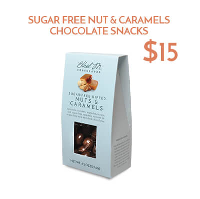 sugar free nut and caramels chocolate snacks