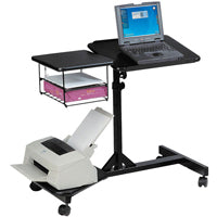 Mobile Laptop Cart with Printer Stand and File Basket
