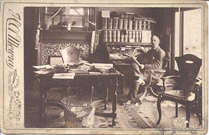 papers scattered from floor to ceiling are evident in his 1892 Ashland, Ohio company office.