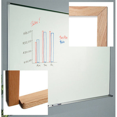 Laminate Dry Erase Board, Wood Trim 4' x 4'