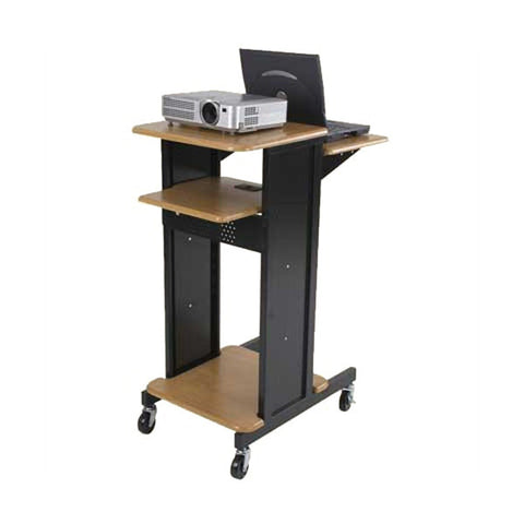 Sit Stand Adjustable Laptop Projector Cart, Teak