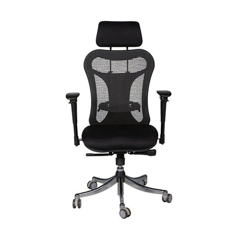Ergo Ex Multi-Adjustable Mesh Executive Chair with Headrest, Black
