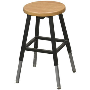 Height Adjustable Stool with Wood Seat, Black Metal Frame