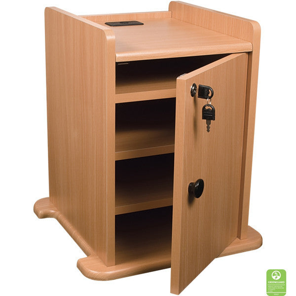 ... Locking Cabinet For Laptop Projector Cart   Teak ...