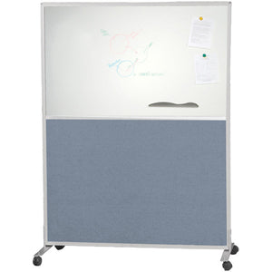 Modular Office Divider System - Double-Sided Whiteboard & Blue Fabric Panels - Two Sizes
