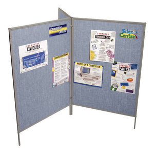 "Mobile 3 Panel Folding Room Divider - 78"" H - Blue or Grey Vinyl"