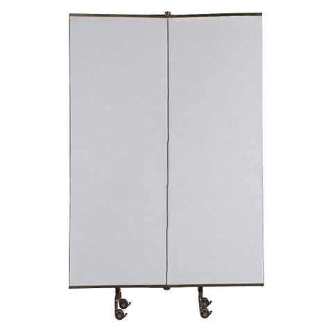 Room Divider Screens 2 Panel Add-On - Grey Fabric - 6' H