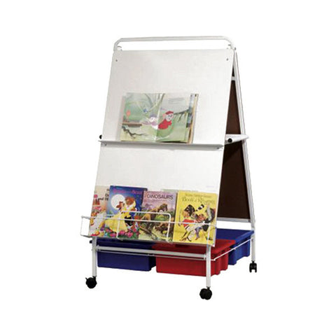 Children's Mobile Easel with Two Whiteboard Panels & Four Storage Tubs