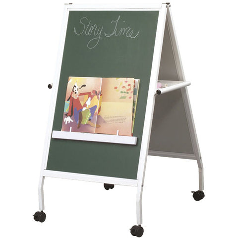 Children's Mobile Easel with Magnetic Chalkboard and Magnetic Whiteboard