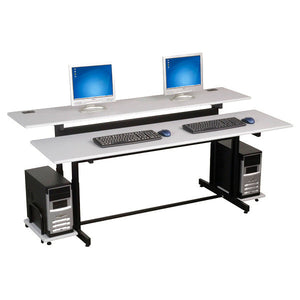 Split-Level Dual-User Office Computer Table - 72""