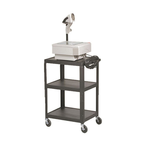 Height Adjustable AV / Equipment Cart with Three Shelves