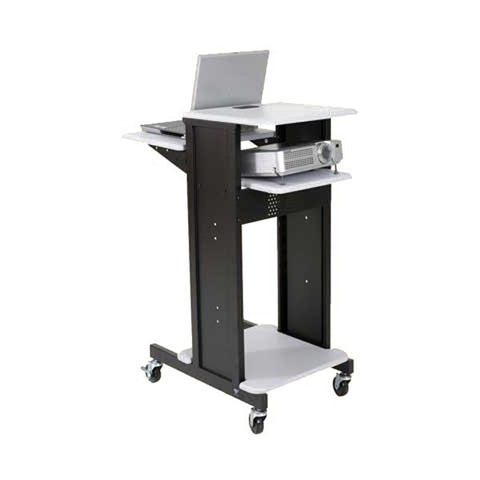 Sit-Stand Adjustable Laptop Projector Cart, Grey