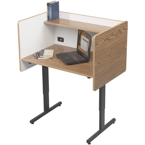 Study Desk Carrel with Shelf - Oak Laminate
