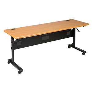 "Flipper Training Table - 72"" x 24"" - Teak Finish"