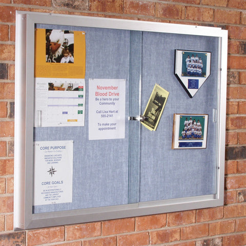 Standard Enclosed Bulletin Board Two Sliding Doors