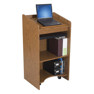 Mobile Full-Floor Lectern with Keyboard and Multimedia Shelves